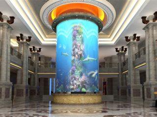 didelis cilindro akrilo žuvų bakas